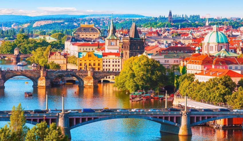 czech republic prague old town and vltava river